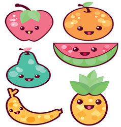 Kawaii-fruits vector