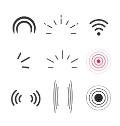 Signal icons radio signals waves and light vector image