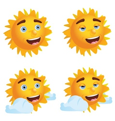 Sun with Different Emotions2 vector image vector image