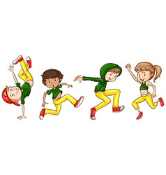 A sketch of the dancers with green and yellow vector image