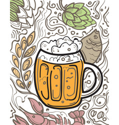 glass of beer on the doodle background vector image