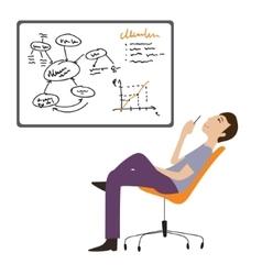 Man working thinking flat vector image vector image