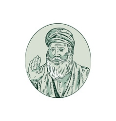 Sikh Guru Priest Waving Etching vector image