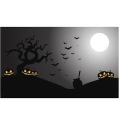 Silhouette of pumpkins and bat halloween vector image