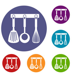 spatula ladle and whisk kitchen tools icons set vector image