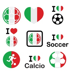 I love Italian football soccer icons set vector image vector image