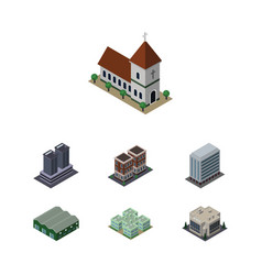 Isometric construction set of tower clinic house vector
