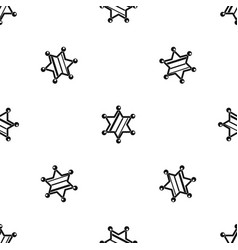 sheriff star pattern seamless black vector image vector image