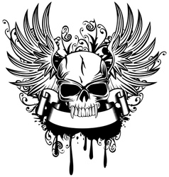 skull with wings 1 vector image vector image