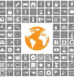 world icons web set vector image vector image