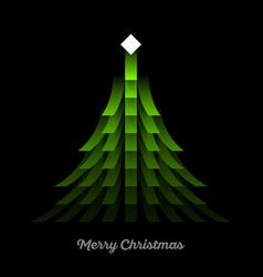 green christmas tree with lights garland vector image