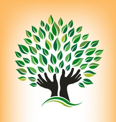 Supporting Hand Tree Logo vector image