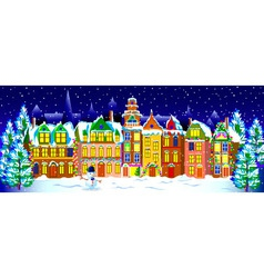 Winter night in the old town vector image