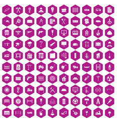 100 building materials icons hexagon violet vector