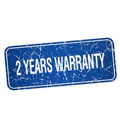 2 years warranty blue square grunge textured vector