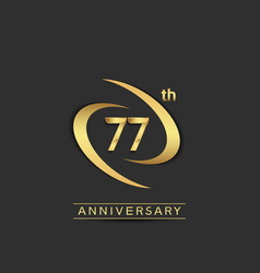 77 years anniversary logo style with swoosh ring vector