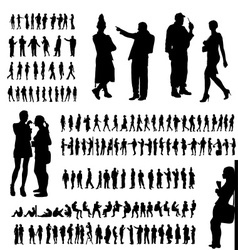 Adult people silhouettes collection vector