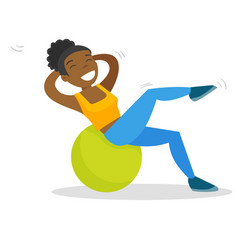 African-american woman exercising with fitball vector