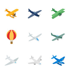 air transport vehicles icons isometric 3d style vector image