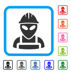Alien worker framed icon vector