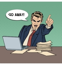 Angry businessman boss screaming pop art vector