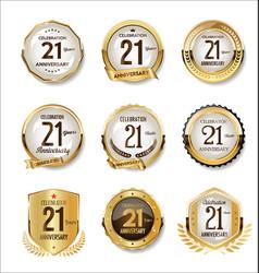 Anniversary golden retro badges collection 21 vector