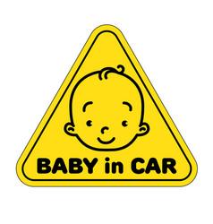 Baby in car sticker vector