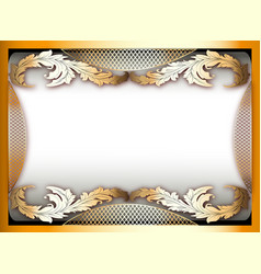 background frame with gold ornament and place for vector image