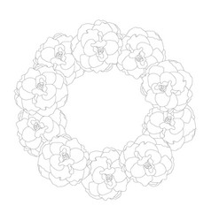 begonia flower picotee outline wreath vector image