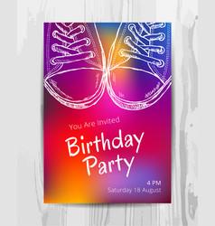 Birthday party invitation card teenage party vector