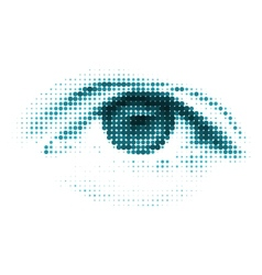 Blue color human digital eye vector