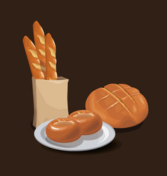 Bread bakery product food organic fresh bread vector