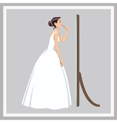 Bride corrects make-up vector