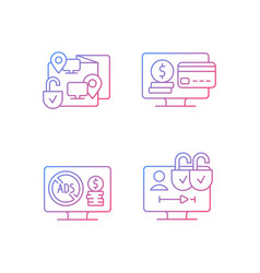 Broadcasting services gradient linear icons set vector