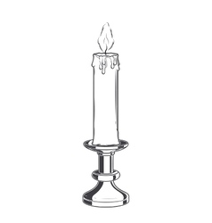 Burning old candle and vintage candlestick vector