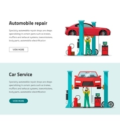 Car repair shop station banner repairman vector image