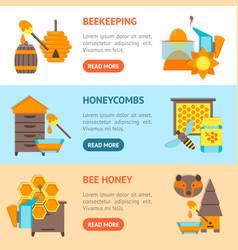 cartoon bee banner horizontal set vector image