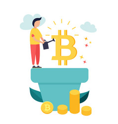 cartoon man growing bitcoins vector image