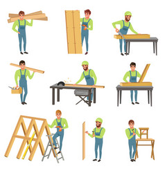 Cartoon set of carpenter characters at work vector