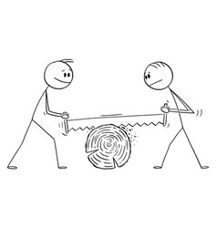cartoon two men cutting wood with big hand saw vector image