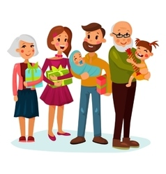 Celebrating family with gifts or presents vector