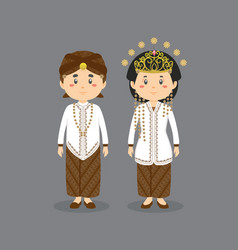 Character west java wearing traditional dress vector