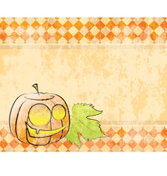 Checkered background pumpkin decorating for vector