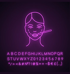 Cheek lift surgery neon light icon vector