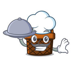 Chef with food bread basket mascot cartoon vector
