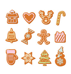 christmas gingerbread cookies set hand drawn vector image