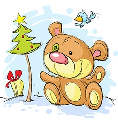 christmas postcard with bear and christmas tree vector image