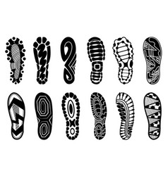 collection footprints human shoes silhouette vector image