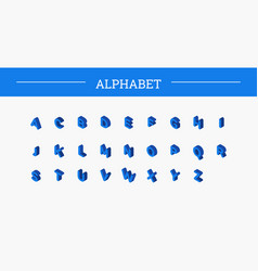 color isometric font alphabet vector image