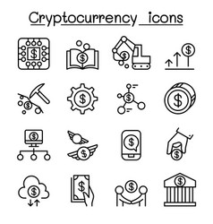 cryptocurrency icon set in thin line style vector image